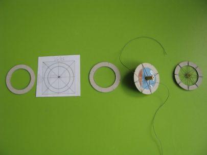 pierścień umieszczamy w przyrządzie do tworzenia szprych z nici