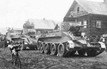 Miasto na kresach 17-09-1939 Prawdopodobnie Lwów. Na pierwszym planie BT 5