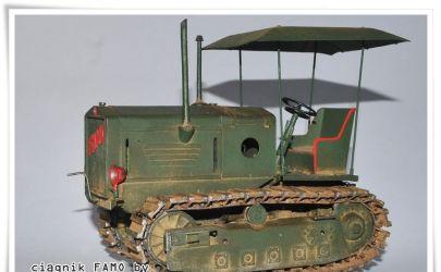 Klejenie testowe,ciągnik gąsienicowy FAMO.