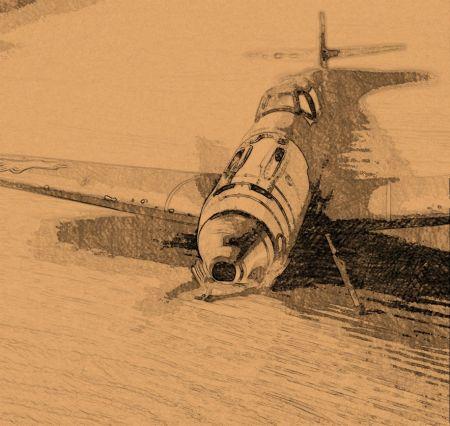 Me-109E z żółtymi krzyżami