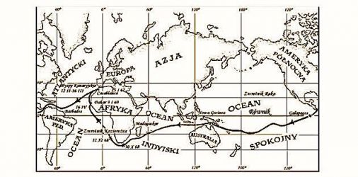 trasa rejsu w latach 1967-1969