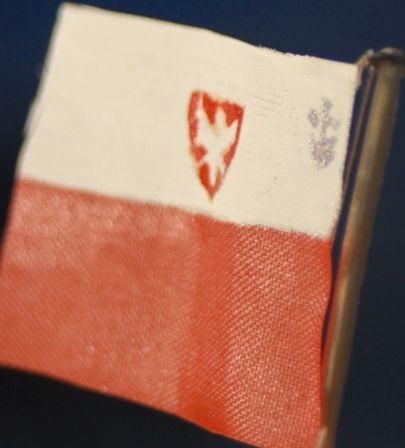 bandera z materiału z godłem i znakiem PZŻ